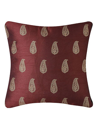 Wine-Golden Printed Dupion Silk Cushion Cover (16in x 16in)