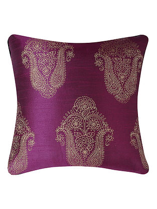 Purple-Golden Printed Dupion Silk Cushion Cover (16in x 16in)