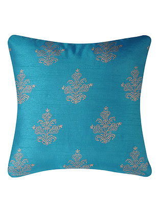 Turquoise-Golden Printed Dupion Silk Cushion Cover (16in x 16in)