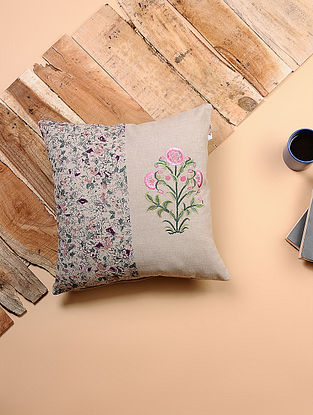 Beige-Multicolored Printed and Embroidered Cotton Cushion Cover (16in x 16in)