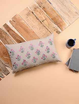 Beige-Multicolored Embroidered Cotton Cushion Cover (20in x 12in)