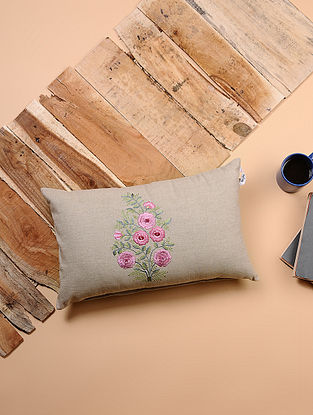 Beige-Multicolored Embroidered Cotton Cushion Cover (19in x 12in)