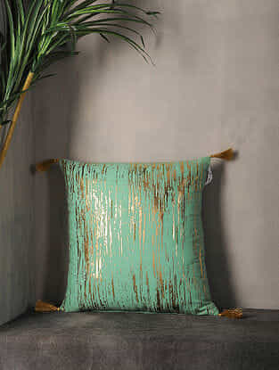 Spearmint Foil Print Cotton Cushion Cover with Tassel ( 16in x 16in )