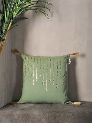 Olive Sequin-Embroidered Cotton Cushion Cover with Tassel ( 16in x 16in )