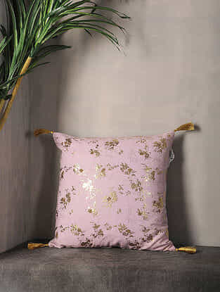 Light Lilac Foil Printed Cotton Cushion Cover with Tassel ( 16in x 16in )