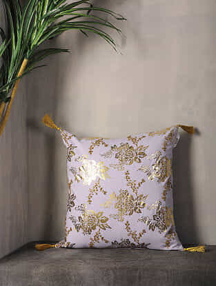 Misty Lilac Foil Printed Cotton Cushion Cover with Tassel ( 16.5in x 16in )