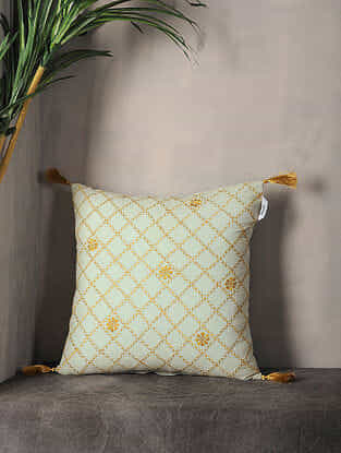 Pestal Green Embroidered Cotton Cushion Cover with Tassel ( 16.5in x 16.5in )