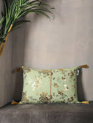 Winter Pear Foil Printed Cotton Cushion Cover with Tassel ( 18in x 12.5in )