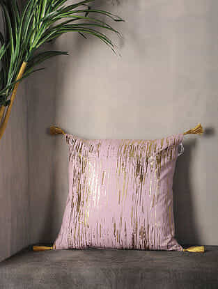 Light Lilac Foil Printed Cotton Cushion Cover with Tassel ( 16.5in x 16in )