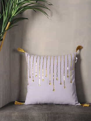 Misty Lilac Sequin-Embroidered Cotton Cushion Cover with Tassel ( 16.5in x 16in )