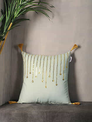 Pestal Green Sequin-Embroidered Cotton Cushion Cover with Tassel ( 16.5in x 16.5in )