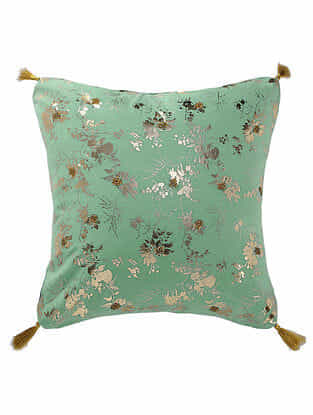 Spearmint Foil Printed Cotton Cushion Cover with Tassel ( 16in x 16in )