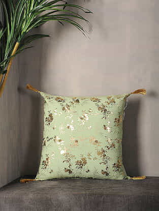 Winter Pear Foil Printed Cotton Cushion Cover with Tassel ( 16.5in x 16.5in )