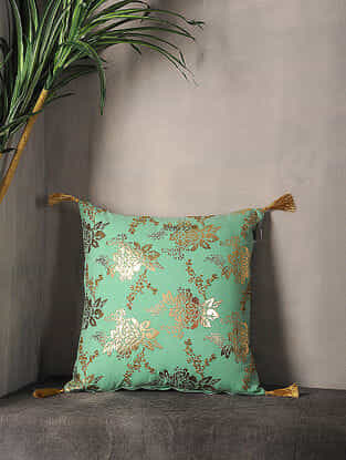 Spearmint Foil Printed Cotton Cushion Cover with Tassel ( 16.5in x 16.5in )