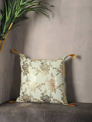 Pestal Green Foil Printed Cotton Cushion Cover ( 16in x 16in )