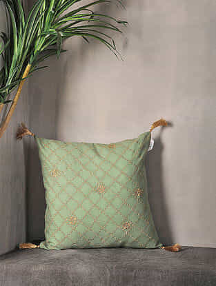 Olive Embroidered Cotton Cushion Cover with Tassel ( 16.5in x 16in )
