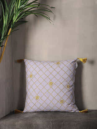 Misty Lilac Embroidered Cotton Cushion Cover with Tassel ( 16.5in x 16.5in )