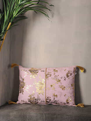 Light Lilac Foil Printed Cotton Cushion Cover with Tassel ( 18in x 12.5in )