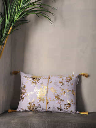 Misty Lilac Foil Printed Cotton Cushion Cover with Tassel ( 18in x 12.5in )