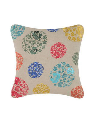 Multicolor Embroidered and Printed Cotton Cushion Cover (16in x 16in)