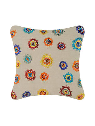 Multicolor Embroidered Cotton Cushion Cover (16in x 16in)