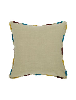 Beige Textured Cotton Cushion Cover with Fringes (16in x 16in)