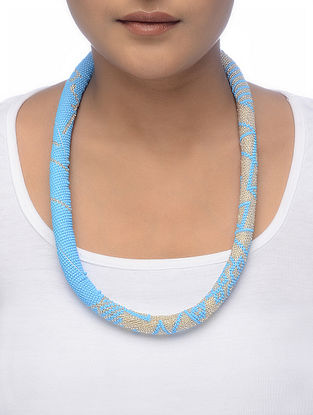 Blue-Grey Beaded Necklace