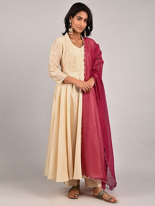 Beige Gota Trimmed Chanderi Kurta with Pants and Red Scalloped Dupatta (Set of 3)