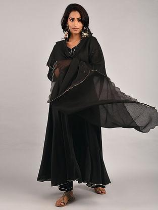 Black Gota Trimmed Chanderi Kurta with Pants and Scalloped Dupatta (Set of 3)