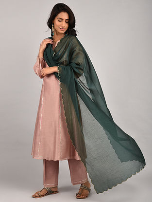 Old Rose Gota Trimmed Chanderi Kurta with Pants and Emerald Green Scalloped Dupatta (Set of 3)
