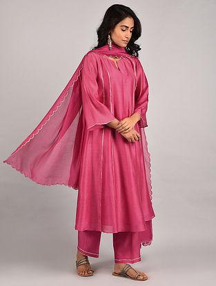 Pink Gota Trimmed Chanderi Kurta with Pants and Scalloped Dupatta (Set of 3)