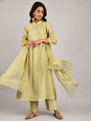 Olive Green Gota Trimmed Chanderi Kurta with Pants and Scalloped Dupatta (Set of 3)