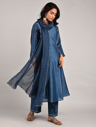 Royal Blue Gota Trimmed Chanderi Kurta with Pants and Scalloped Dupatta (Set of 3)