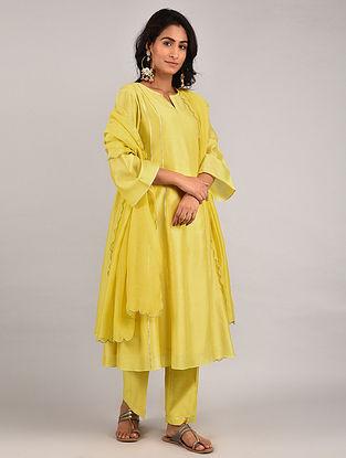 Yellow Gota Trimmed Chanderi Kurta with Pants and Scalloped Dupatta (Set of 3)