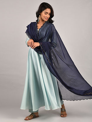 Ice Blue Gota Trimmed Chanderi Kurta with Pants and Navy Blue Scalloped Dupatta (Set of 3)