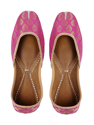 Pink Handcrafted Brocade Silk and Leather Jutti