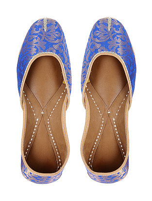 Blue Handcrafted Brocade Silk and Leather Jutti