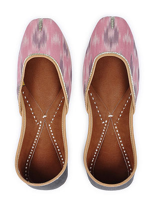 Pink-Grey Handcrafted Cotton Juttis