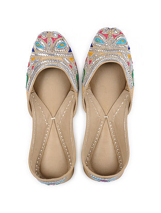 Multicolored Handcrafted Mukaish Leather Juttis