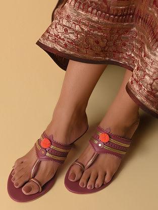 Maroon Handcrafted Faux Leather Kolhapuri Kitten Heels