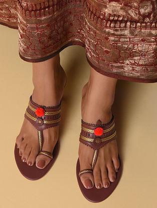 Brown Handcrafted Faux Leather Kolhapuri Kitten Heels