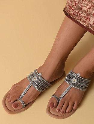 Grey Handcrafted Faux Leather Kolhapuri Flats