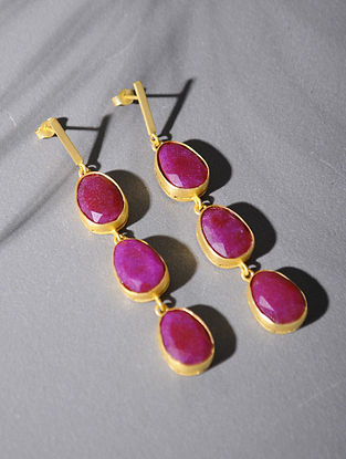 Gold Tone Silver Earrings with Pink Corundum