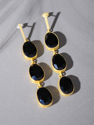 Gold Tone Silver Earrings with Black Onyx