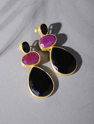 Gold Tone Silver Earrings with Pink Corundum and Black Onyx