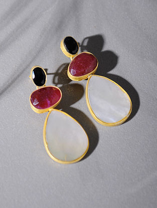 Gold Tone Silver Earrings with Pink Corundum and Mother of Pearl