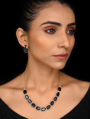 Gold Tone Black Onyx Silver Necklace with Earrings (Set of 2)