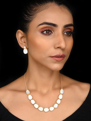 Gold Tone Mother of Pearl Silver Necklace with Earrings (Set of 2)