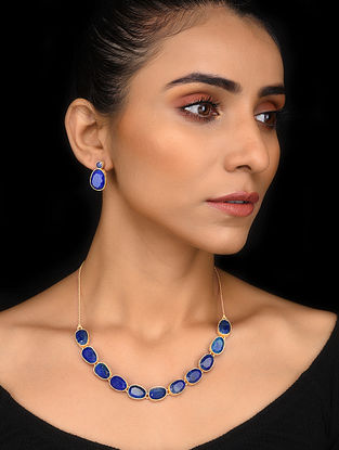 Gold Tone Blue Corundum Silver Necklace with Earrings (Set of 2)