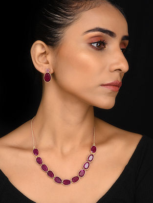 Gold Tone Pink Corundum Silver Necklace with Earrings (Set of 2)